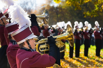 Oak Ridge High School Wildband warms up before the Knoxville, TN Veterans Day Parade, Gay Street, Knoxville, TN