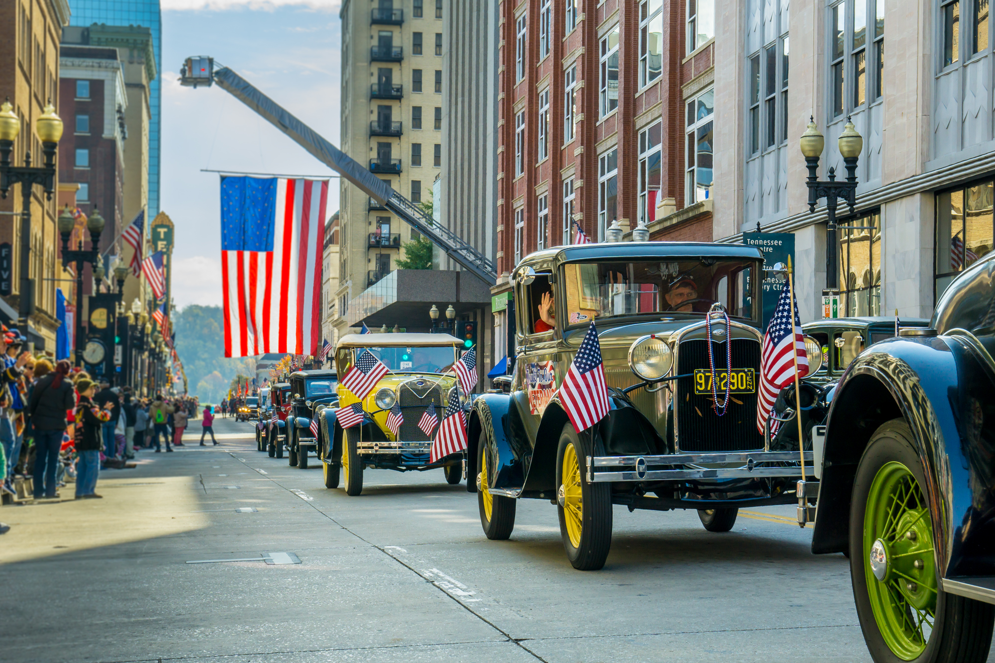 Smoky Mountains Model A Club participates in the Knoxville, TN Veterans Day Parade, Gay Street, Knoxville, TN