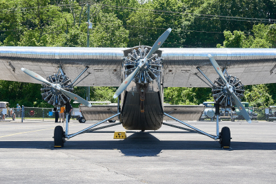 Front view of the Ford Tri-motor airplane